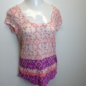 American Eagle Outfitters Tops - AMERICAN EAGLE Pink Tribal Burnout Favorite Tee L
